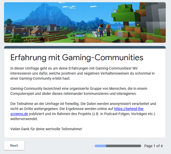 Umfrage: Erfahrungen mit Gaming-Communities